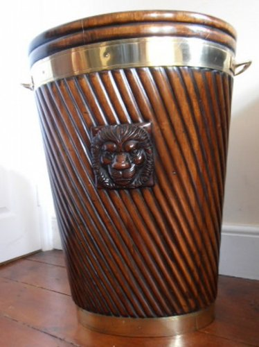 Irish Mahogany Brass Bound Peat Bucket Marlborough